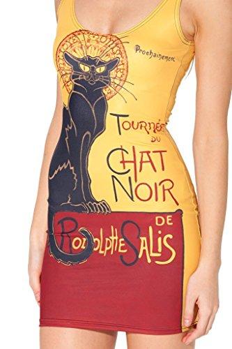 Bodycon Stretchy Club Print QZUnique Dress Mini Noir Cat Sleeveless Women's Party Nature xq07EX7t