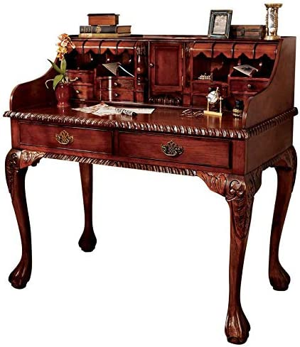 Design Toscano L Escritoire Secretary Home Office Desk, 42 Inch, Hardwood, Cherry