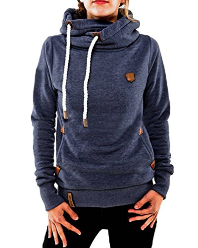ZANZEA Winter Damen Hoodies Pullover Langarm Jacke Top Sweatshirt Pullover Tops Jumper Blau EU 38