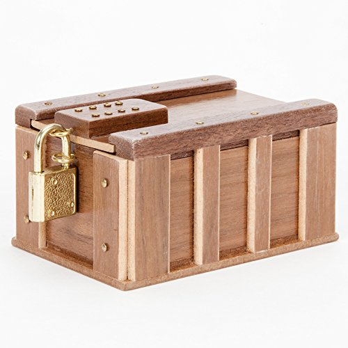 Bits and Pieces - One Panel Treasure Chest Gift Box - Wooden Money Brainteaser Puzzle Box
