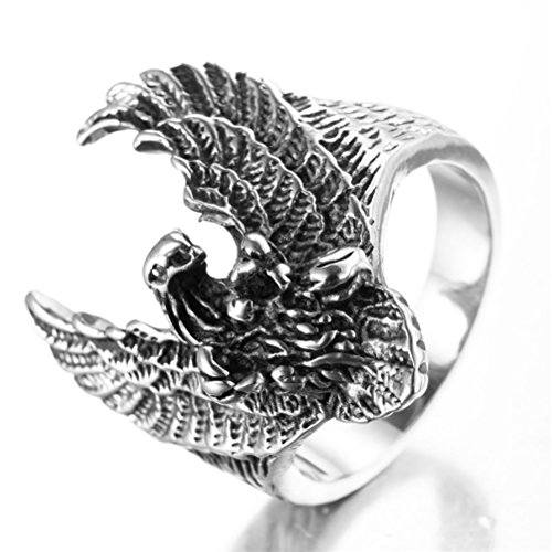 OAKKY Men's 316l Stainless Steel Domineering Flying Eagle Gothic Biker Ring Silver Size 9