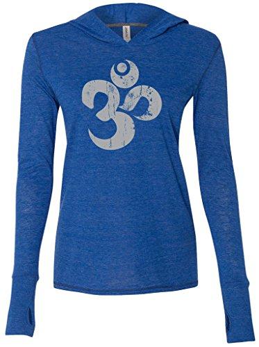 Yoga Clothing For You Ladies Grey Distressed OM Tri-Blend Hoodie, 2XL Royal