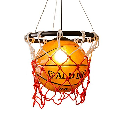 WSHceilingLamp Creative Basketball Pendant Light Lampshade Glass Chandelier with E27 Lamp Holder,Fashion Ceiling light for Living room studyroom shop and Boy's room from WSHceilingLamp