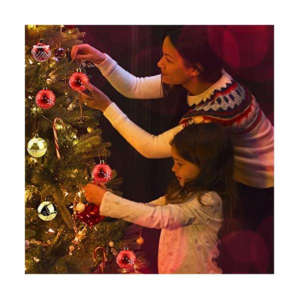 Jinlaili 6CM Palle di Natale Ornamenti, 12PCS Pallina Verniciata Palline di Natale Decorazione per Albero di Natale, Albero di Natale Palla Decorazioni per Alberi di Natale Addobbi Palle (Oro Rosso) 7 spesavip