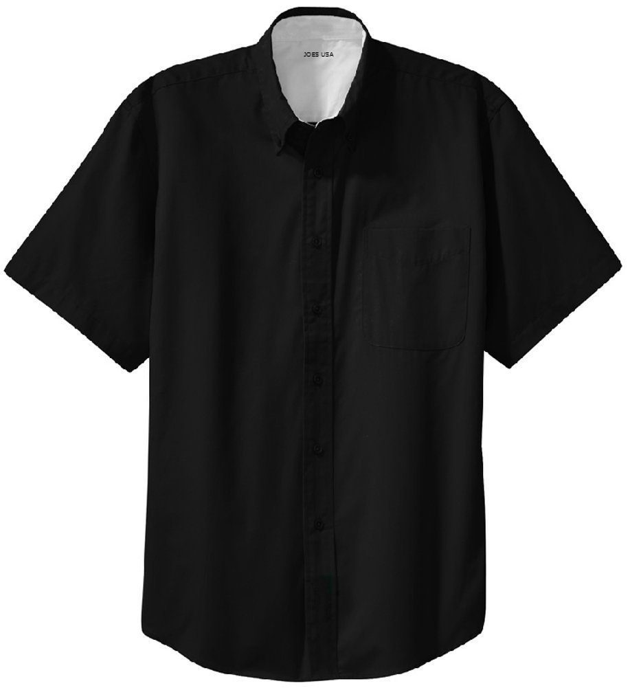 Men's Short Sleeve Wrinkle Resistant Easy Care Shirts-XL, Black/Light Stone by Joe's USA