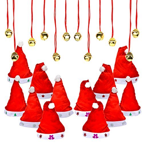 1 Dozen Fancy Santa Hats with 1 Dozen Jingle Bell Necklaces for Christmas Party-ONE SIZE FITS ALL Christmas Hats
