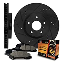Front [ELITE SERIES] Black Anti-Rust Slotted & Drilled Rotors and Ceramic Pads Brake Kit KT005581 | Fits: 2003 03 2004 04 2005 05 2006 06 Toyota Corolla