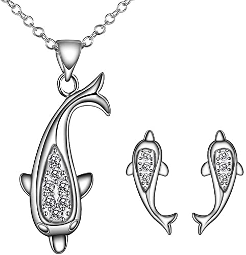 Onefeart White Gold Plated Necklace Pendant Earrings Ring Jewelry Set for Women with Crystal Ocean Hearts