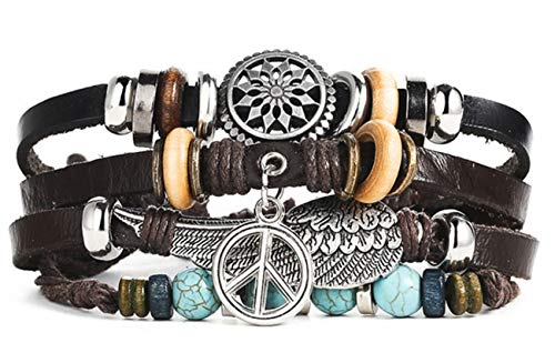 Peace Owl - Ahava Avenue Wristband Punk Design Leather Bracelet for Men & Women (Turquoise Peace)