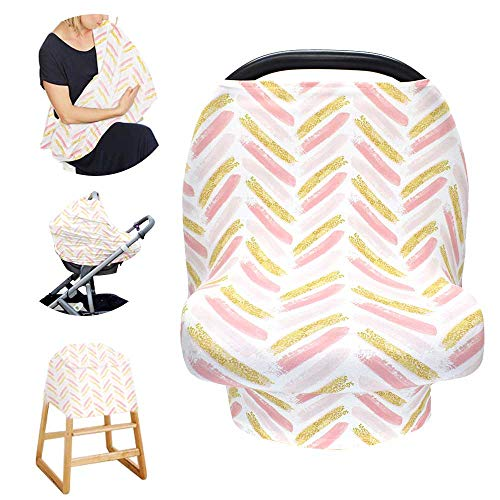 Stretchy Baby Carseat Cover with 4-in-1 Multi-use for Baby Carseat & Nursing/Breastfeeding Infinity Scarf & Stroller & Feeding high Chair Versatile Cover for Baby Girls or Boys -Stripe from TIANNUOFA