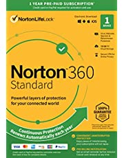 Norton 360 Standard – Antivirus software for 1 Device with Auto Renewal – Includes VPN, PC Cloud Backup [Key Card]