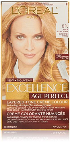L'Oreal Paris ExcellenceAge Perfect Layered Tone Flattering Color, 8N Medium Natural Blonde