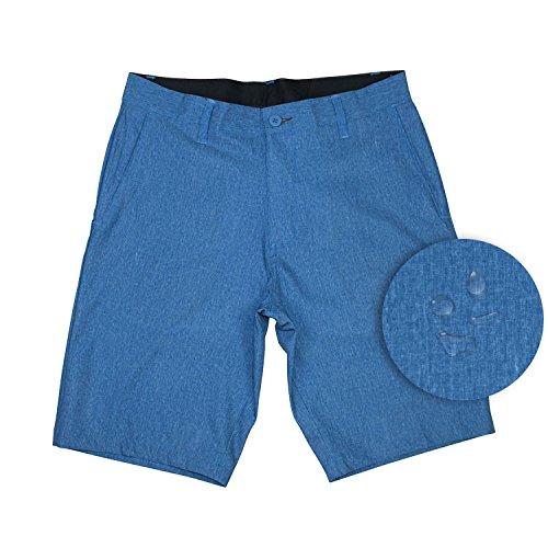 Burnside Mens Hybrid Short Lightweight Stretch Walkshort & Boardshort-Bright Blue - Square Texas Face