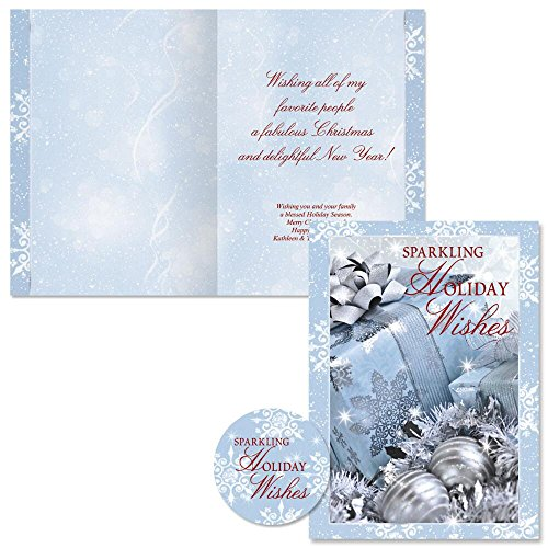 Icy Blue Glamour Personalized Christmas Cards with Free Matching Seals (Set of 24)