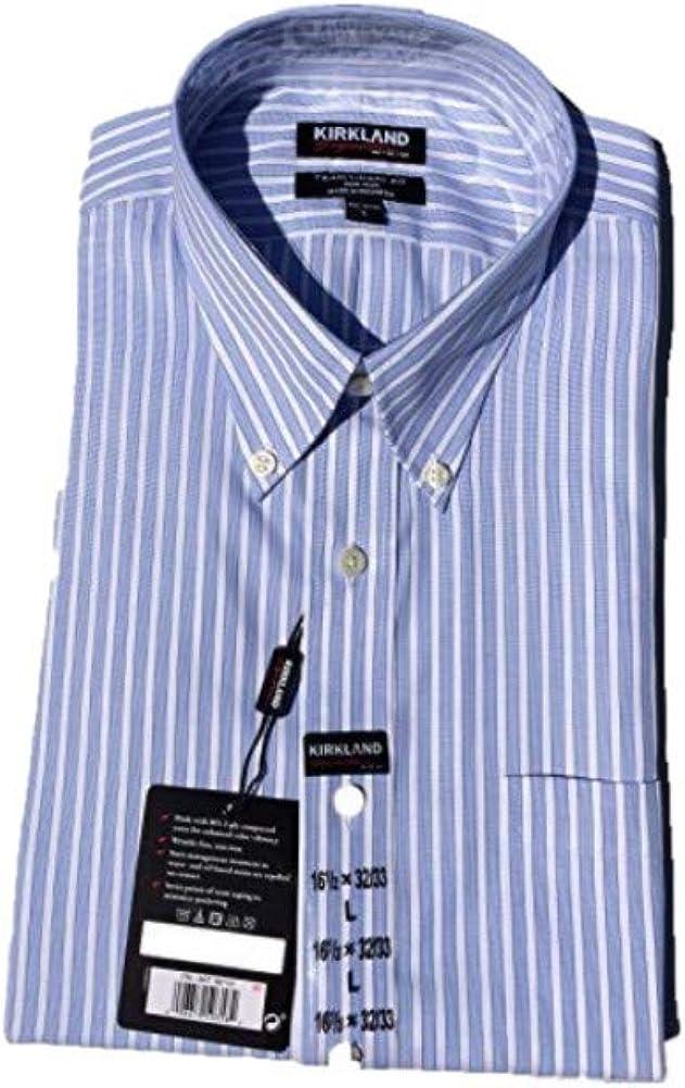 M 15.5x34//35, White Blue Stripes Kirkland Signature Mens Traditional Fit Non-Iron Button Down Collar Dress Shirt