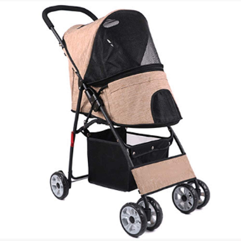 Beige HAO SHOP Wheel Pet Stroller, For Cat, Dog And More, Foldable Carrier Strolling Cart, Multiple colors (color   Beige)