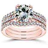 Moissanite and Lab Grown Diamond 3pc Bridal Rings Set 2 1/2 CTW 14k Rose Gold (HI/VS, DEF/VS)