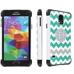 Samsung Galaxy S5 Hybrid Dual Layer Tough Designer Case By SkinGuardz - (Mint Chevron Monogram Initial D White & Black)