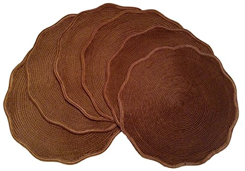 Coscape, Round, Scallop Border, Set of 6 (Six), Indoor/Outdoor, Woven Placemats or Chargers, 15 inch Diameter ()