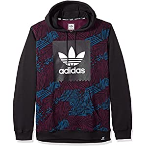 adidas Men's Skateboarding Blackbird Palm Hoodie, Blue Night/Red Night/Black, L