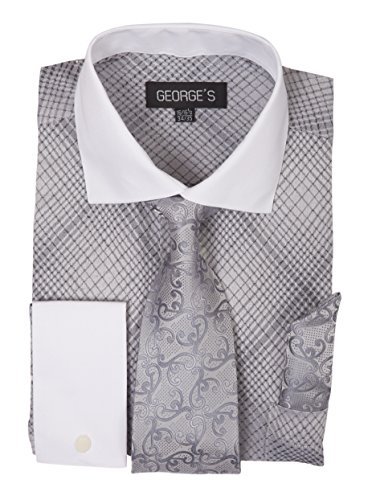 George's Small Check Pattern Fashion Dress Shirt With Woven Tie Set AH624 Silver-17-17 1/2-34-35 Check Pattern Mens Dress Shirt