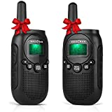 Walkie Talkies License Free Two-Way Radios for Kids and Adults Portable Mini 2 Way Radios with Rechargeable Li-ion Battery 5 Miles 22 CH 0.5W Perfect for Outdoor Activities Black 2 Pcs