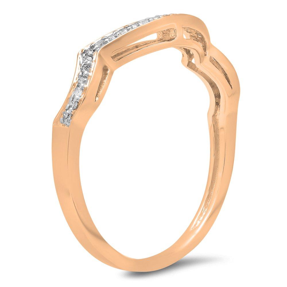 Dazzlingrock Collection 0.10 Carat (ctw) 10K White Diamond Ladies Wedding Contour Guard Ring 1/10 CT, Rose Gold, Size 7 by Dazzlingrock Collection (Image #2)
