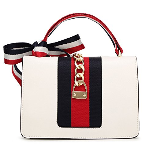 Fzhly White Crossbody Shoulder Ribbon Bow Messenger Handle Ladies Fashion Bag Tote Handbag British rfOr7qw