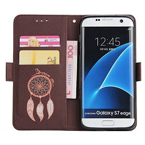 Galaxy S7 Edge Hülle,Galaxy S7 Edge Schutzhülle,Galaxy S7 Edge Lederhülle,Hpory Schön Luxus Bling Glänzend Glitzer Sparkle Löwenzahn Göttin Muster Ledertasche Handyhülle Brieftasche im BookStyle PU Le Glitzer Windspiele,braun