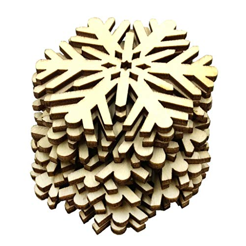 10x Assorted Wooden Snowflake Xmas Wedding Tree Hanging Ornament Party Decor