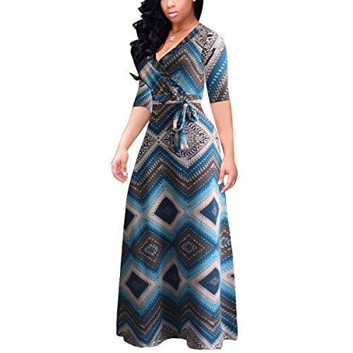 Akmipoem Women Half Sleeve Floral Print Self-tie Surplice Swing Maxi Bohemian Dress, Large/US 10