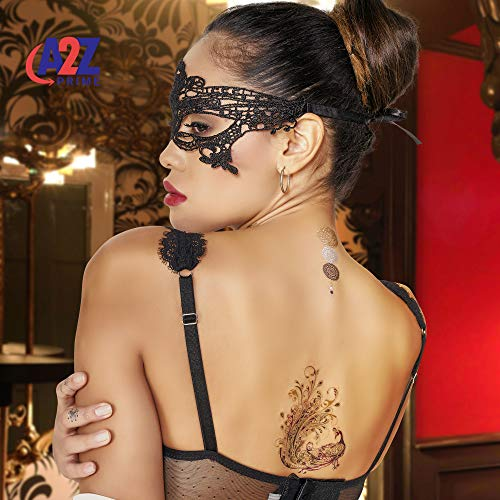 Metallic Temporary Tattoos For Women 10Sheet A5,Over140 Designs Color Flash Henna Tattoo Kit Gold Silver & 1Luxury Black Lace Masquerade Eye Mask- 6Tattoo Remover Wipes| Festival Accessories