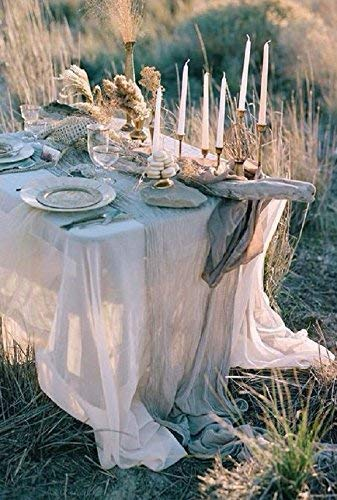 Cheesecloth Cheese cloth table runner wedding Rustic Wedding Wedding Arbor Decor Table Runner For Wedding Banquet Decoration Boho Farmhouse Shabby Chic Country Rustic - Light Grey ()