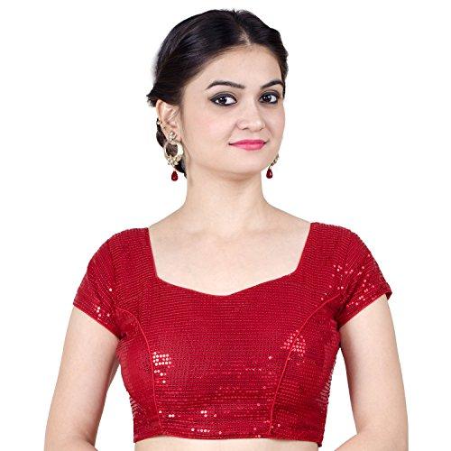 (Chandrakala Women's Designer Bollywood Readymade Red Saree Blouse Padded Brocade Choli-Medium (B107RED3))