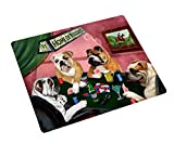 Bulldog Large Tempered Cutting Board 4 Dogs Playing Poker
