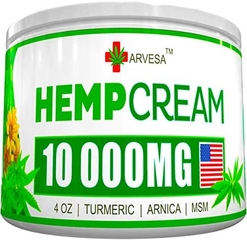 Hemp Pain Relief Cream - 10 000MG - 4 OZ - Made in USA - Lower Back, Neck, Joint, Knee, Muscle Inflammation - All-Natural Hemp Extract - with Emu Oil, Arnica, MSM, Turmeric