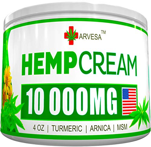 Hemp Pain Relief Cream - 10 000MG - 4 OZ - Made in USA - Lower Back, Neck, Joint, Knee, Muscle Inflammation - All-Natural Hemp Extract - with Emu Oil, Arnica, MSM, Turmeric (Best Cannabis For Back Pain)