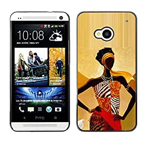 Impact Case Cover with Art Pattern Designs FOR HTC One M7 Black Queen Gold Goddess Woman Lady Betty shop