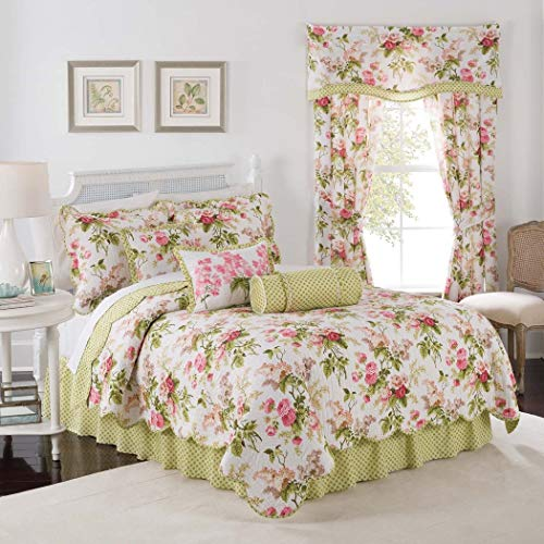 (4 Piece White Pink Floral Full Queen Quilt Set,Whimsical Romantic Aesthetic Flowers Garden Pattern Themed Bedding,Flower Bouquets Lilacs Cabbage Roses Delicate Color Palette Reversible Checked Cotton )