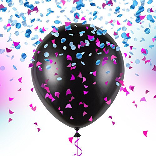 Gender Reveal Balloon kit with pink and blue confetti with BONUS: Extra ribbons and bows for balloon| Reveal party decorations & supplies for Boy or Girl by Superior (Gender Reveal Box With Balloons)