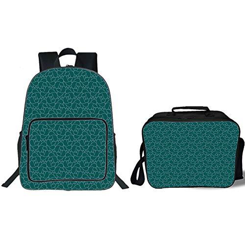 "19"" School Backpack & Lunch Bag Bundle,Teal,Abstract Line Ar"