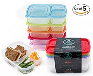Healthy Packers 3-Compartment Reusable Bento Food Prep Containers Lunch Box (Pack of 5)