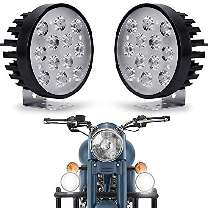 02956a143 Image Unavailable. Image not available for. Colour  Autofy Universal 12 LED  Car Motorcycle Fog Lights ...