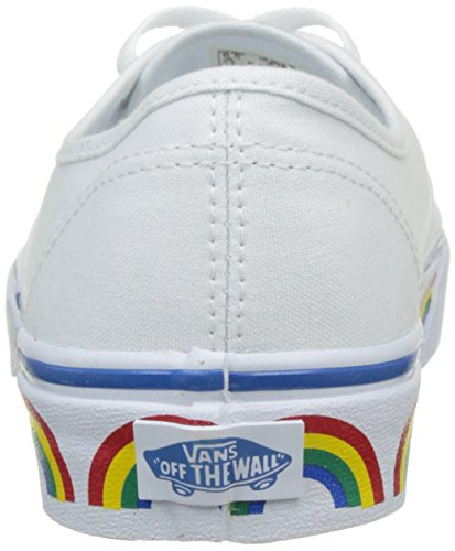 Vans Unisex Authentic (Rainbow Tape) Canvas Sneakers, Comfortable, Durable and Fashionable with Rainbow Print on Midsole in True White/Blue