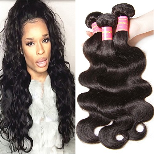 Longqi Hair Top Quality 14 14 16Inch 6a Body Wave Naural Color Brazilian Hair Bundles Virgin Human Hair Extensions 95-100g/pc - Q3 Hair Dryer