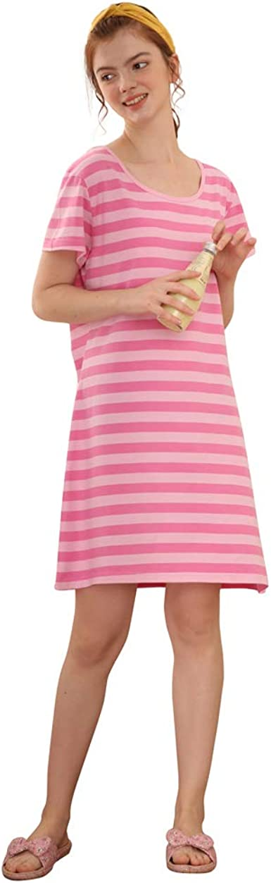 Camisón Mujer Verano Camisones de Algodon Manga Corta Ropa de Dormir Vestir Camisónes Loungewear Elegante: Amazon.es: Ropa y accesorios