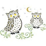 """Owls Stencil - (size 6.5""""w x 4.5""""h) Reusable Wall Stencils for Painting - Best Quality Decor Ideas - Use on Walls, Floors, Fabrics, Glass, Wood, and More…"""