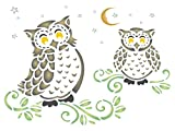 "Owls Stencil - (size 9""w x 6.5""h) Reusable Wall Stencils for Painting - Best Quality Decor Ideas - Use on Walls, Floors, Fabrics, Glass, Wood, and More…"