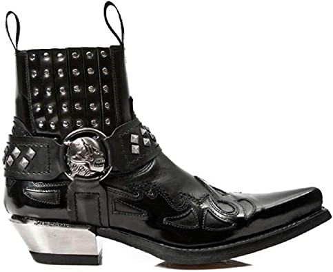 Newrock Unisex 7921-S2 New Rock Leather WEST Black Red Cowboy Leather Boots
