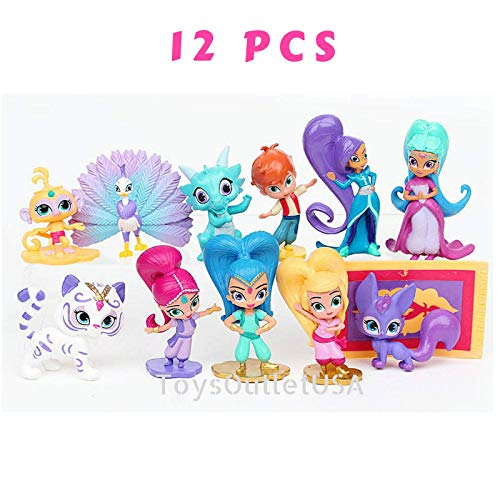 Shimmer and Shine Figure Set 12pcs Cake Toppers Party Supplies Birthday Decorations Genies Shimmer, Shine, Zac,Leah,Tala, Kaz and more Toys by ToysOutletUSA